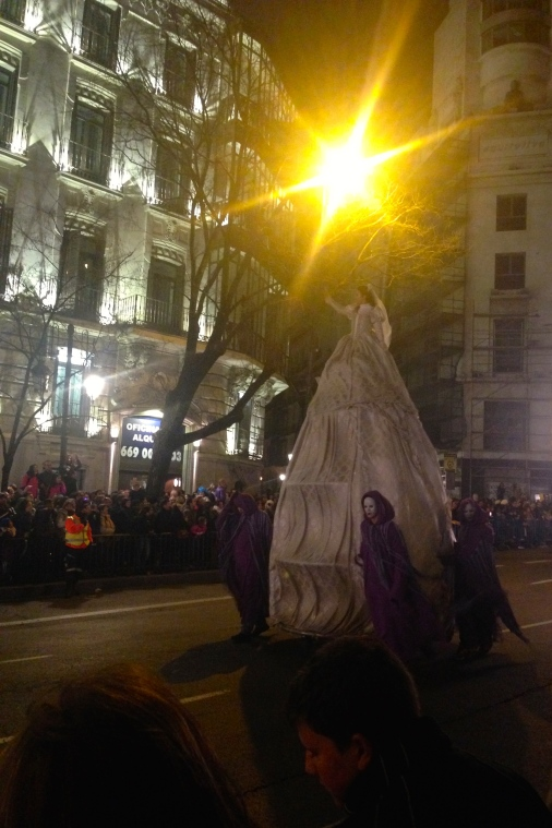 A little blurry, but I managed to get a picture of the super tall lady during the Carnival parade in Madrid.