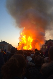 The grand finale of the night is a massive fire that burns for hours while everyone dances around it and fireworks fill the sky.