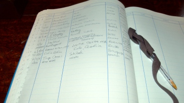A sign-in sheet commemorating my visit to the oldest library in Britain!