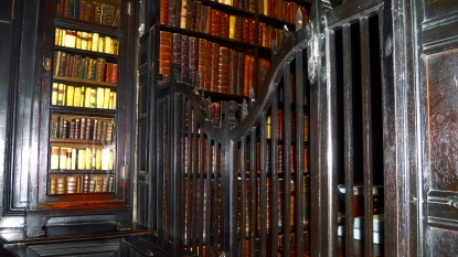 The one disappointing thing was that access to the bookcases was closed off, but a collection from the 1600s deserves protection.