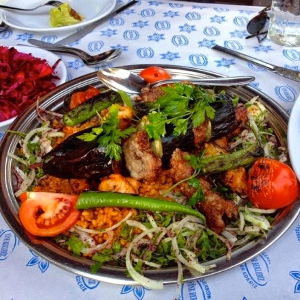 First and foremost, there is kebab, which is offered from a variety of meats and vegetables grilled on a skewer and served over rice or bulgur.