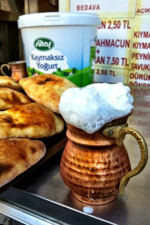 No Turkish meal would be complete without the national drink, Ayran. Ayran is made out of yogurt, water and salt and goes perfectly with any Turkish dish. I have to admit I didn't care for it much when I first tried it but after a while it grew on me and now I order it whenever I'm at a restaurant.