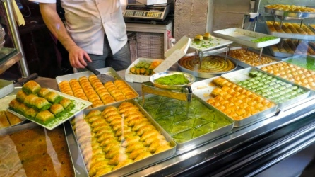 Baklava is sold in many varieties here, but the traditional dessert is made from layers of phyllo dough filled with pistachios and soaked in honey. It is seriously delicious.
