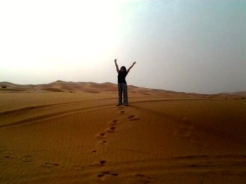 We slept in the Sahara desert for two days, which was epic and beautiful. The sand was so soft and the people were nice… an unforgettable experience!