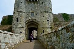 The formidable entrance of Carisbrooke Castle.