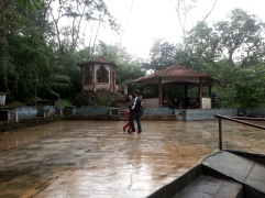 Here's a couple dancing in the rain to the sultry music played by a live band under the canopy.