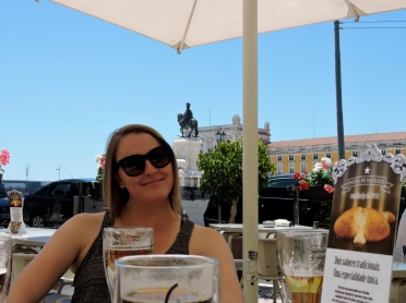 Enjoying a beer in Lisbon.