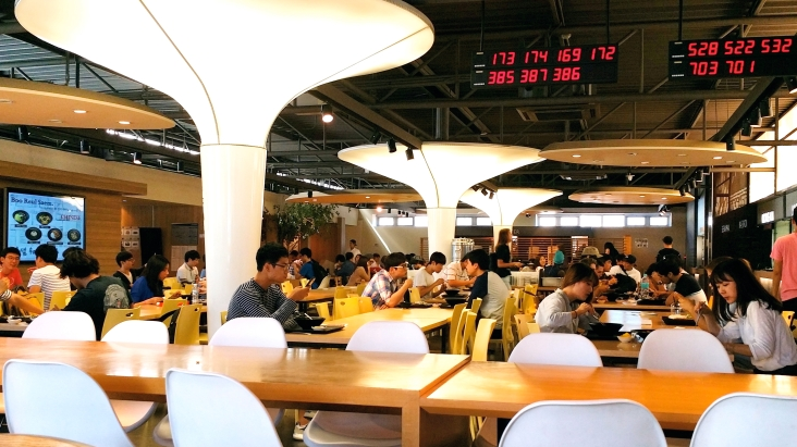 The cafeteria uses a ticket number system to deal with the massive amount of students that come eat lunch everyday.