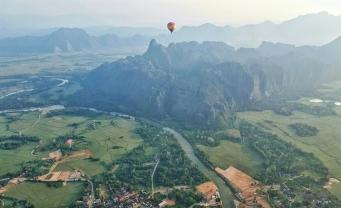 Hot air balloon ride over Vang Vieng