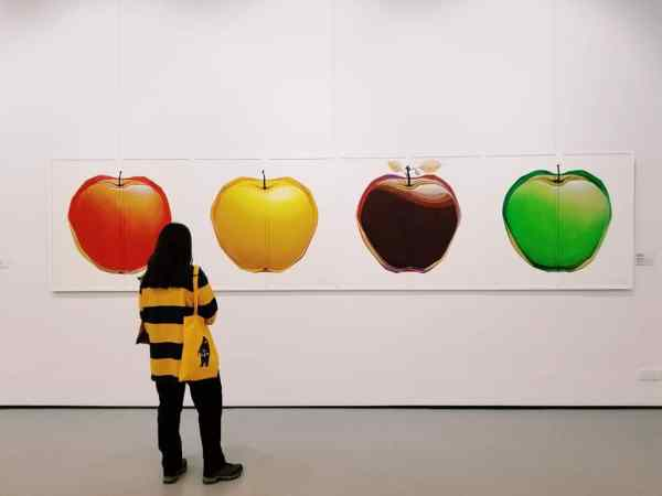 Arianna views apple wall art at the national gallery.