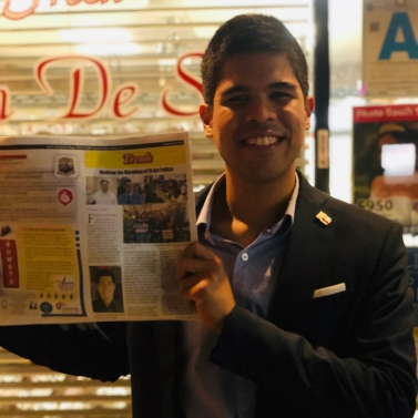 Saulon with copy of the Asian Journal