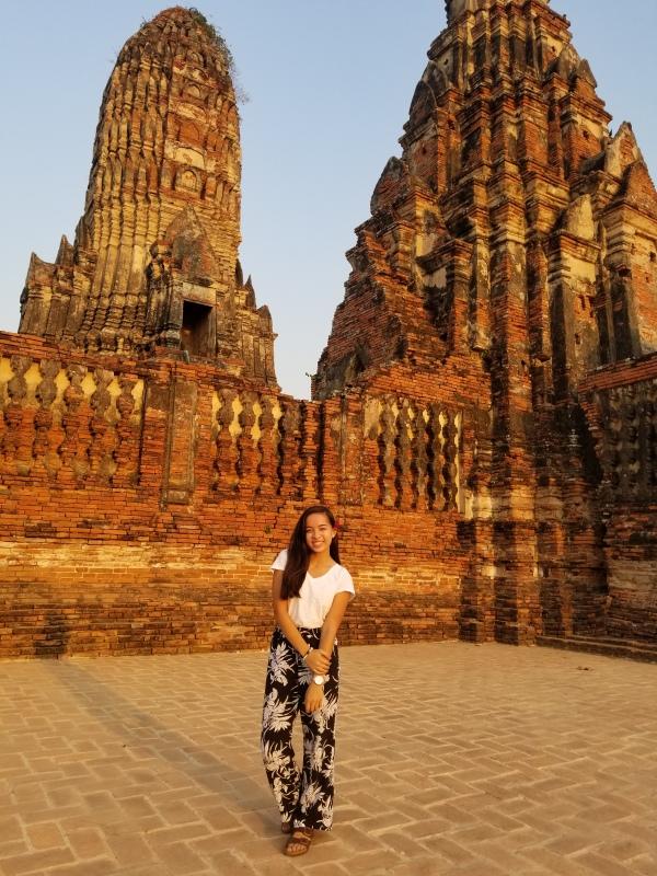 Mariah Hugo at the ruins of Ayutthaya in Thailand.
