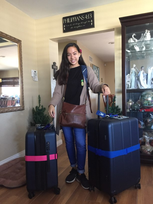 Mariah Hugo with luggage at home before leaving for Thailand.