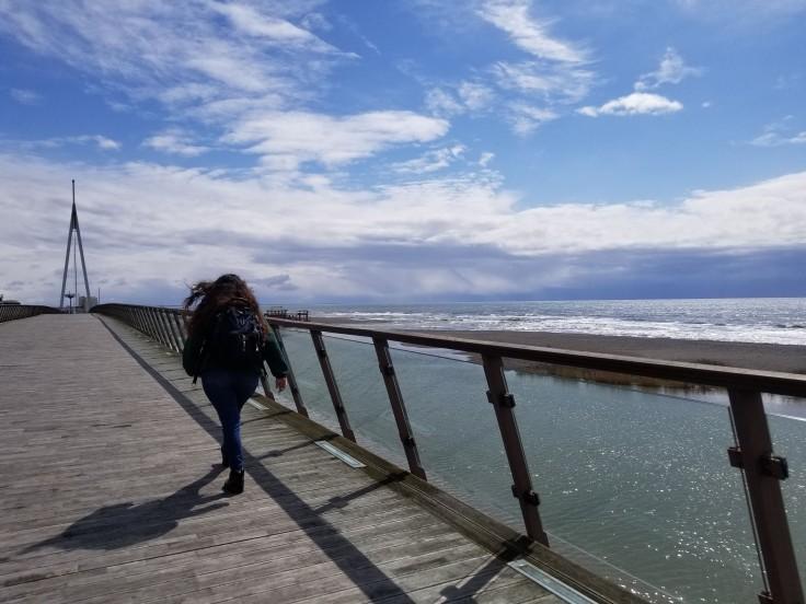 Arianna walking along the shore of the Black Sea.