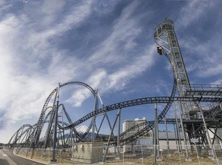 The Guinness-certified world's steepest roller coaster at the Fuji-Q amusement park in Japan.
